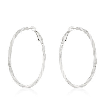 Silvertone Twisting Hoop Earrings