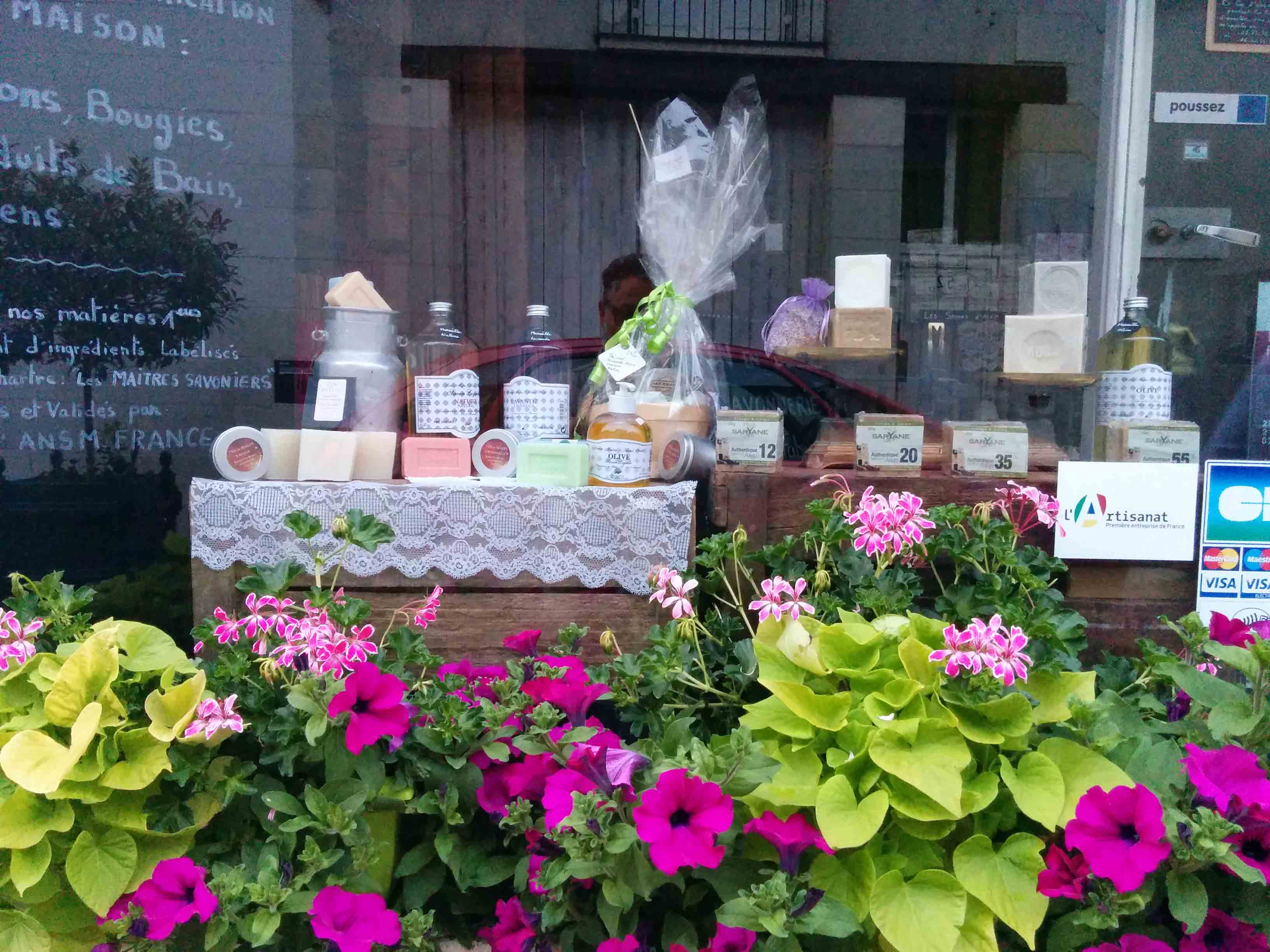 Soaps and creams display in a beauty boutique Uzes Frnce