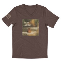 "Amy Ray ""Holler"" T-Shirt - Unisex V-neck (Brown Tri-Blend)"