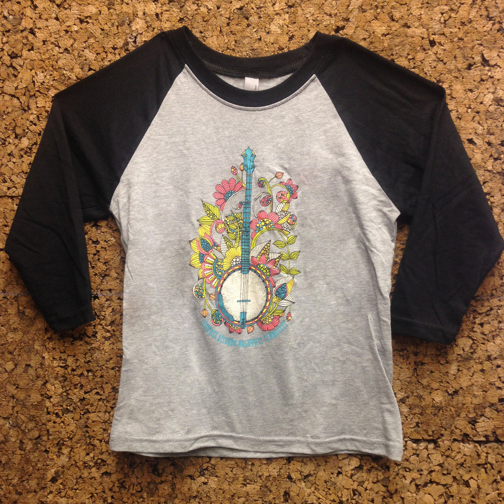 Compass Records Banjo Baseball Tee [Kids]