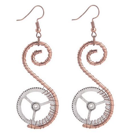 Spiral Gear Earrings