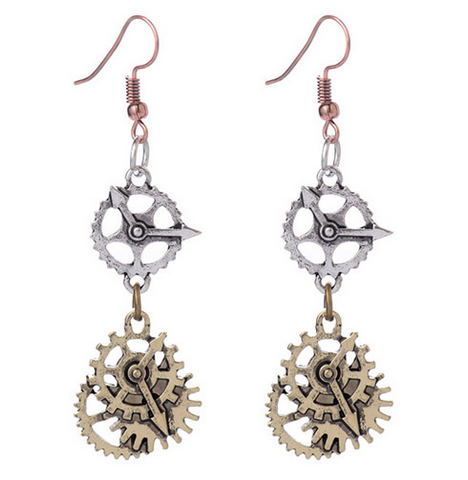 Clock Gear Drop Earrings