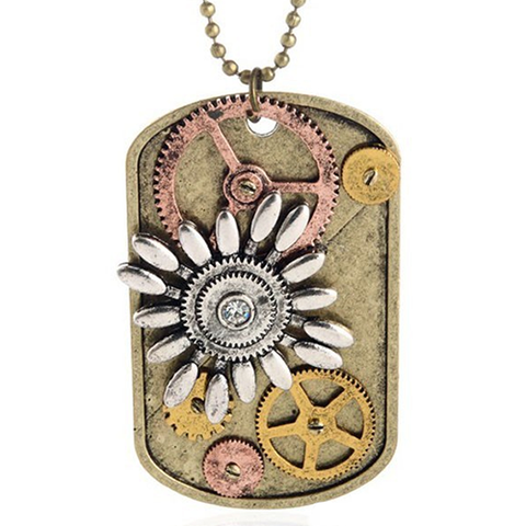 Flower Dog Tag Necklace