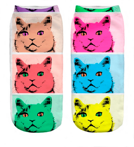 Pop Art Cat Socks