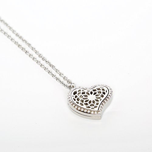 Heart Shaped Aroma Diffuser Locket With Gems