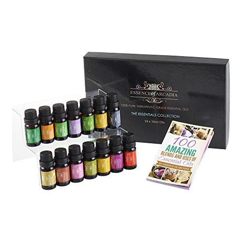 Top 14 Luxury Aromatherapy Essential Oils Set (10ml), Free Recipe Book Included Oil Sets Essence of Arcadia
