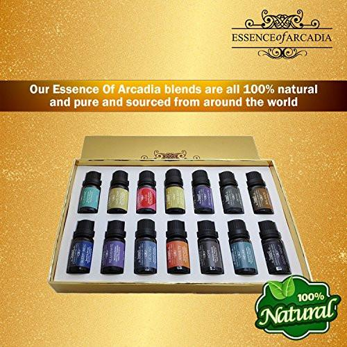 Luxury 14 Set Of Blends Sampler Pack, 100% Pure Essential Oils (10ml) In a Luxury Gift Box, The Leading Aromatherapy Kit Oil Sets for Blends Essence of Arcadia