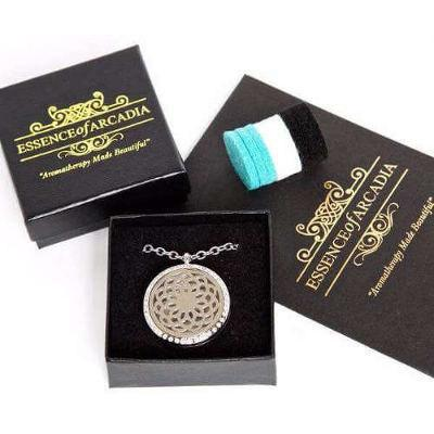 Stunning Circular Aromatherapy Diffuser Necklace With Gems, Luxury Aroma Pendant Gift Set With Pads In A Presentation Box