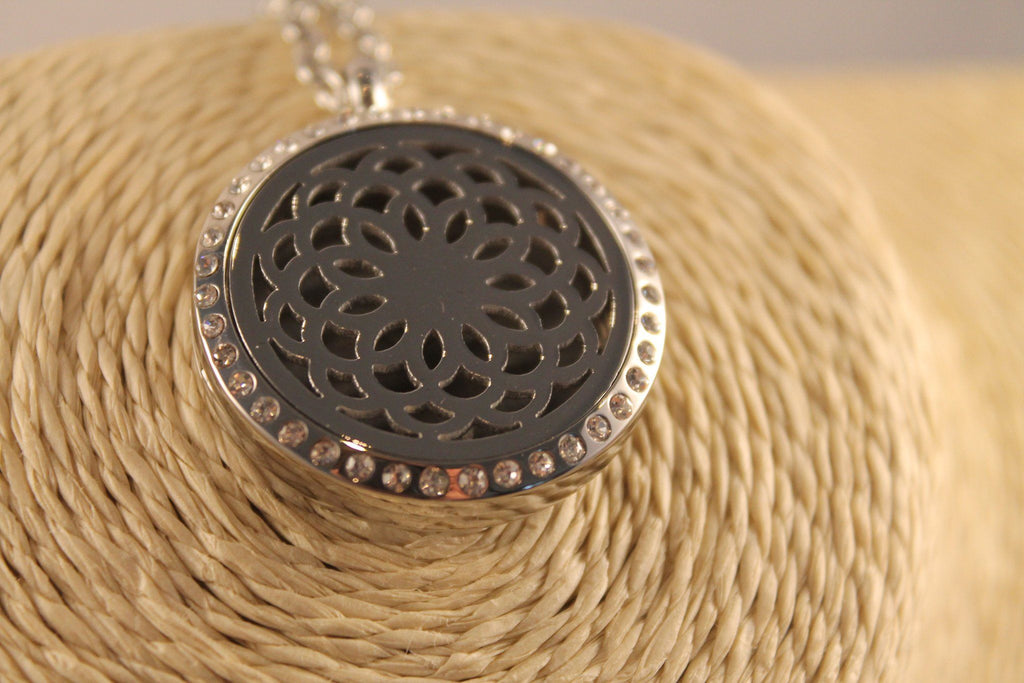 Circular Aromatherapy Diffuser Necklace With Gems Aroma Jewellery Essence of Arcadia