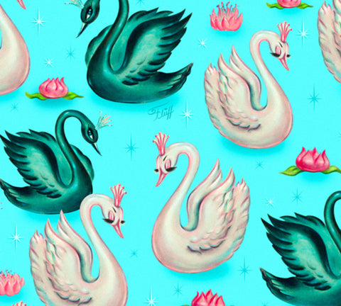 Swans with Tiaras on Aqua