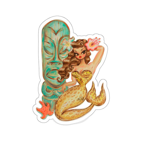 Leopard Brunette Mermaid with Teal Tiki • Kiss-Cut Sticker