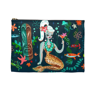 Blonde Leopard Martini Mermaid • Carry All Pouch - Flat