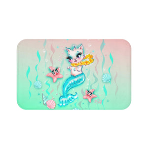 Merkitten with Lei and Starfish • Bath Mat