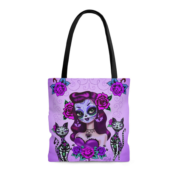 Purple Sugar Skull Girl • Tote Bag