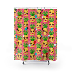 Happy Kawaii Cute Pineapples on Pink • Shower Curtain