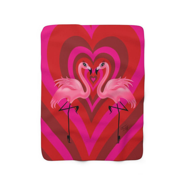 Flamingo Love • Sherpa Fleece Blanket