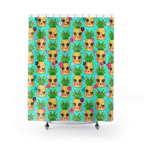 Happy Kawaii Cute Pineapples on Aqua • Shower Curtain