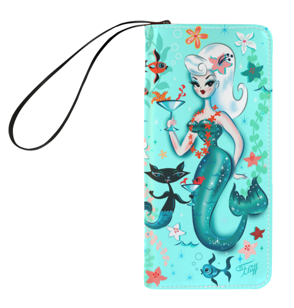 Blonde Martini Mermaid with Merkitty • Clutch Wallet