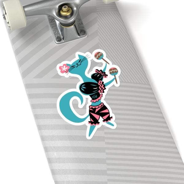 Mambo Kitty Blue • Kiss-Cut Sticker