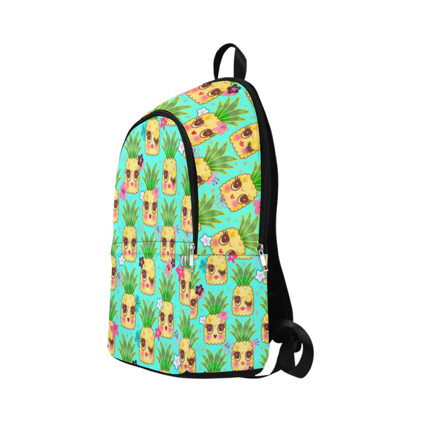Happy Kawaii Cute Pineapples on Aqua • Backpack