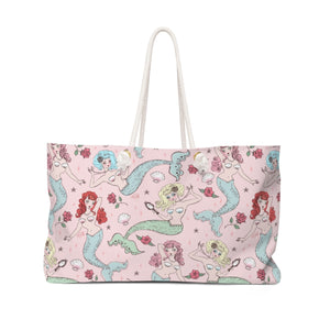 Mermaids and Roses on Pink • Weekender Bag