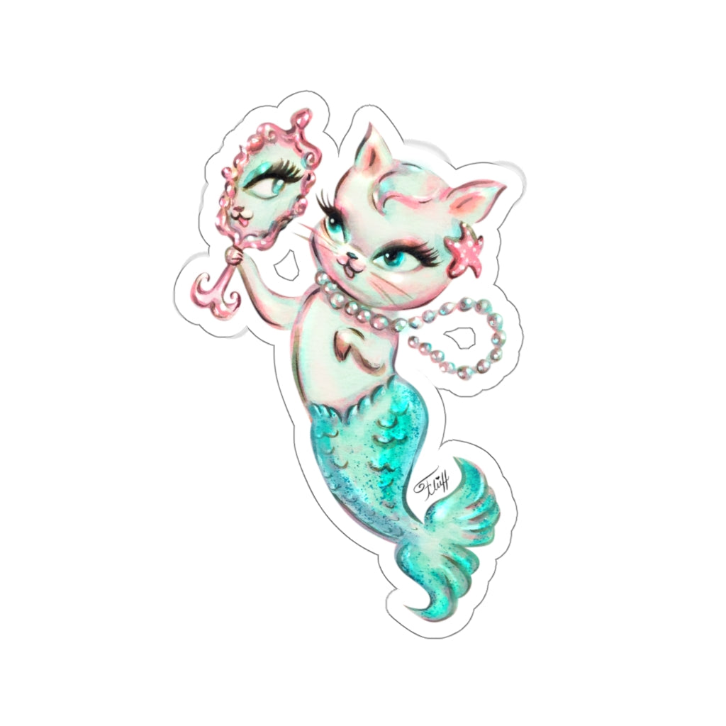 Merkitten with Mirror and Pearls Aqua • Kiss-Cut Sticker