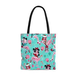 Christmas Candy Martini Pinup Girls • Tote Bag