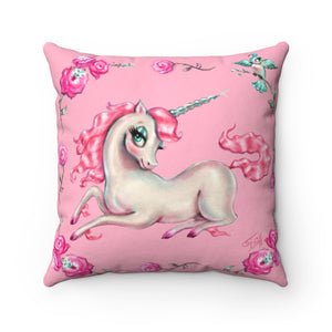 Unicorns and Roses on Pink • Square Pillow