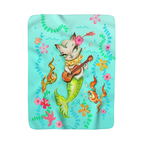 Mermaid Cat with Ukulele • Sherpa Fleece Blanket