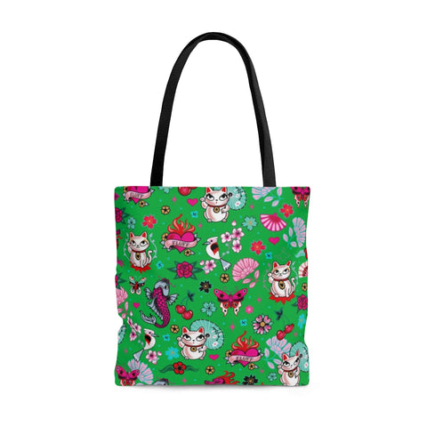 Lucky Cat on Green • Tote Bag