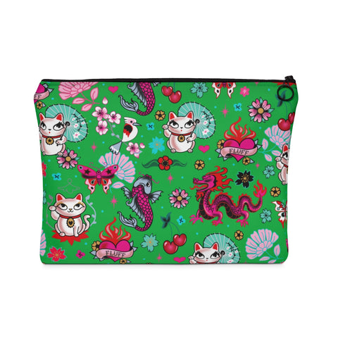 Lucky Kitty on Green * Carry All Pouch - Flat * WS