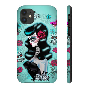 Raven Haired Day of the Dead Sugar Skull Pinup • Phone Case