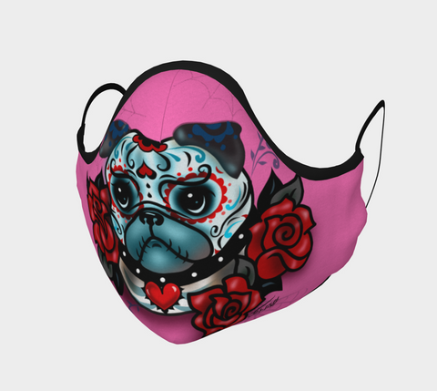 Sugar Skull Pug • Face Mask with Filter Pocket