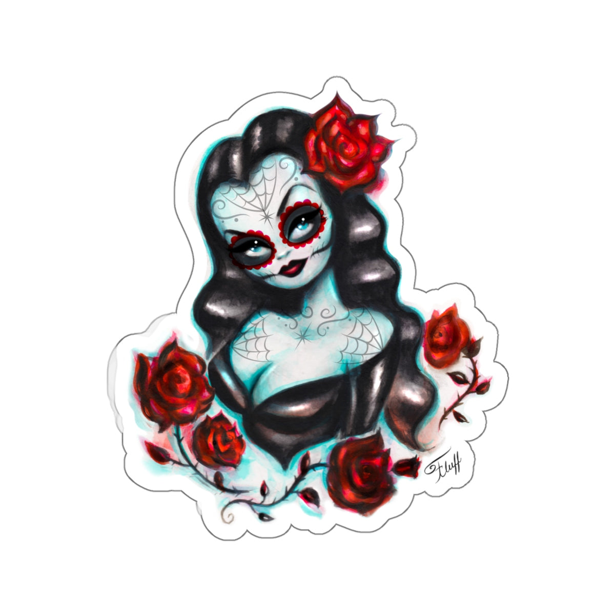 Vampire Vixen with Roses • Kiss-Cut Sticker