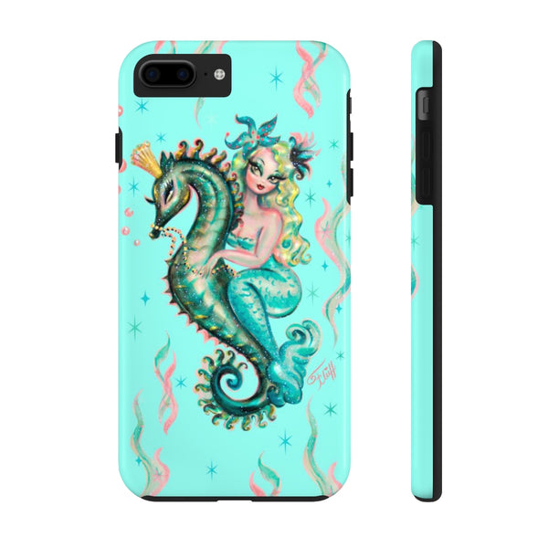 Blue Mermaid Riding a Seahorse Prince • Phone Case