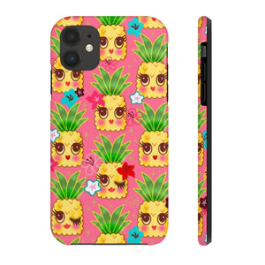 Happy Kawaii Cute Pineapples on Pink • Phone Case