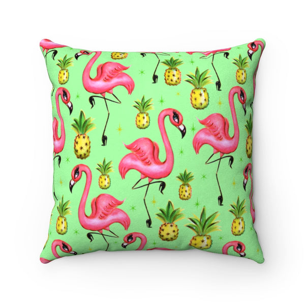 Flamingos and Pineapples  • Faux Suede Pillow