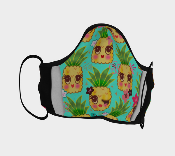 Happy Kawaii Pineapples Aqua • Face Mask with Filter Pocket