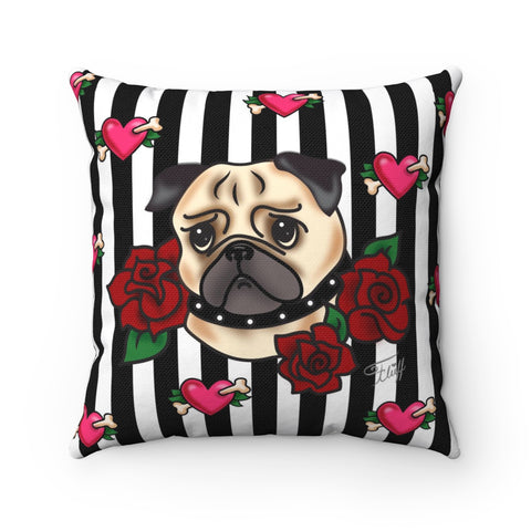 Tattoo Pug with Roses on Stripes  • Square Pillow