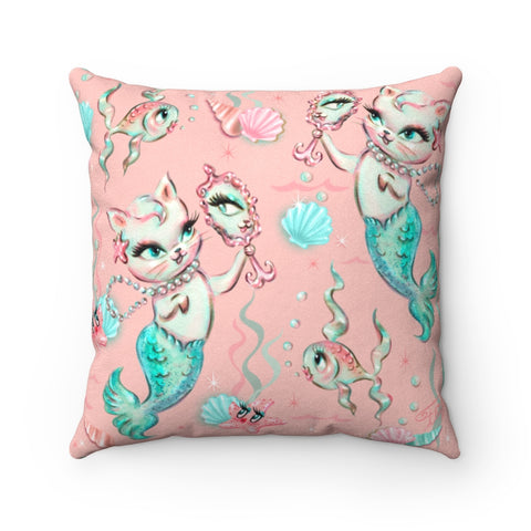 Merkittens with Pearls  • Faux Suede Pillow