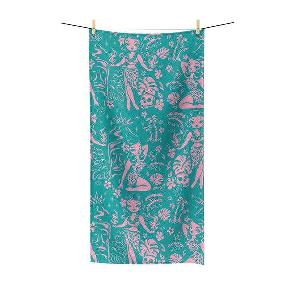 Tiki Temptress - Aqua and Pink • Towel