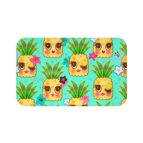 Happy Kawaii Cute Pineapples on Aqua • Bath Mat