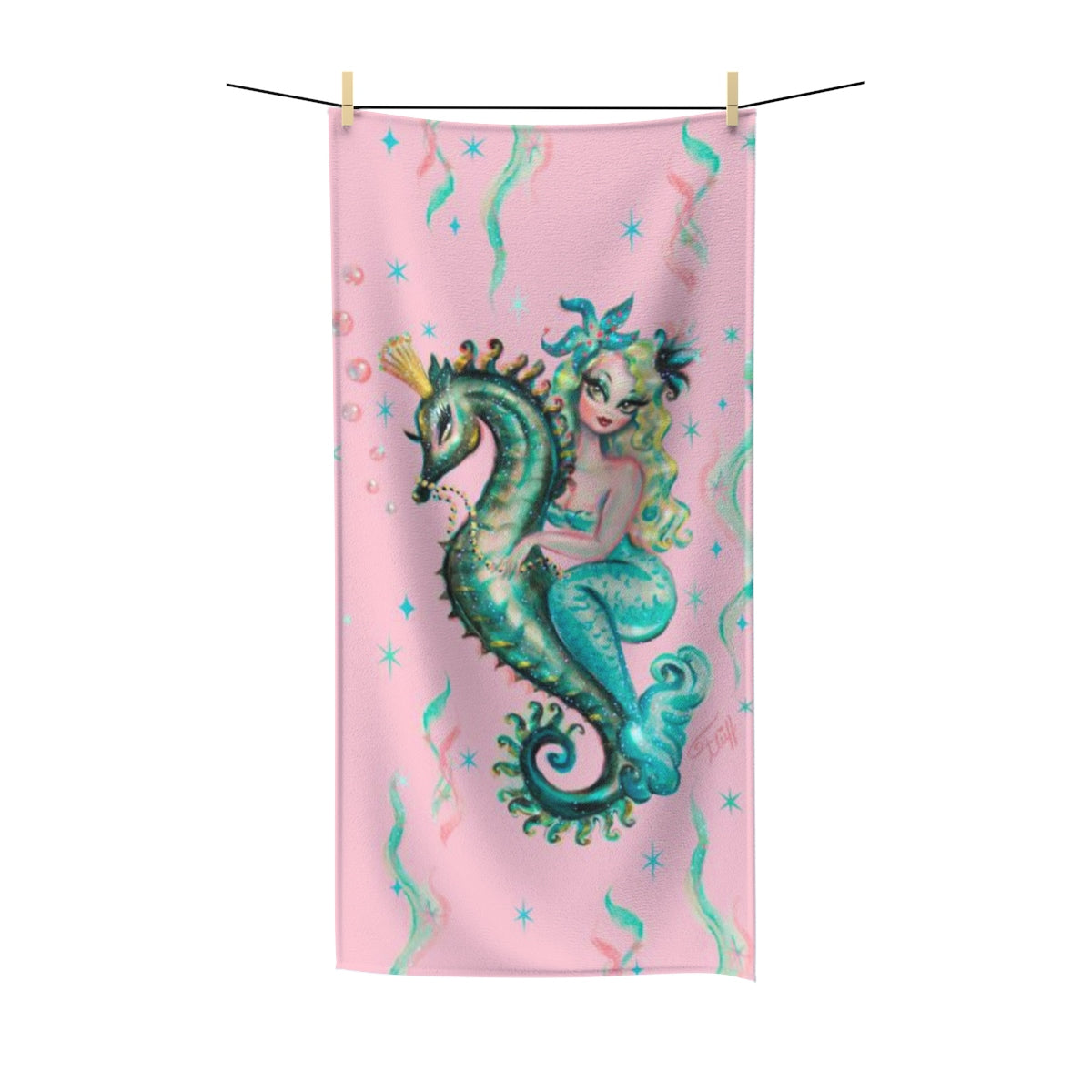 Blue Mermaid Riding a Seahorse Prince on Pink • Towel