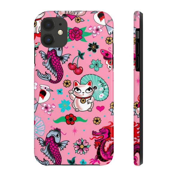 Lucky Kitty on Pink • Phone Case