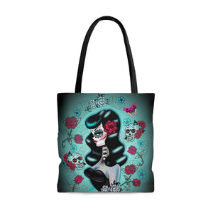 Raven Haired Day of the Dead Sugar Skull Pinup • Tote Bag