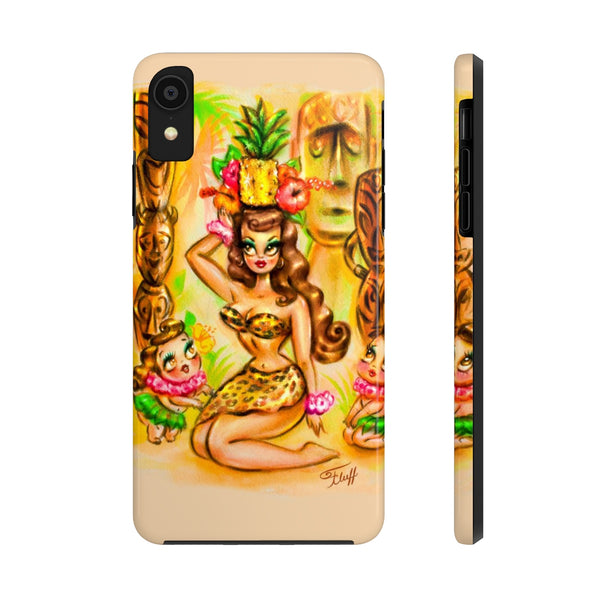Pineapple Island Girl with Tikis • Phone Case