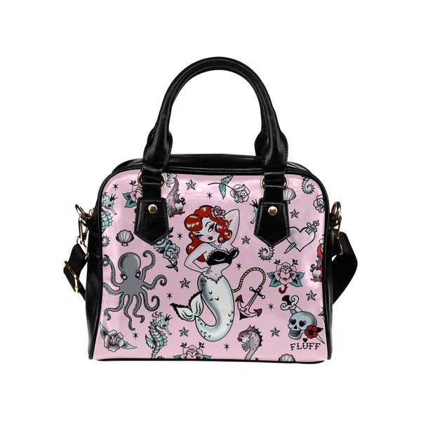 Molly Mermaid on Pink • Purse with Detachable Shoulder Strap