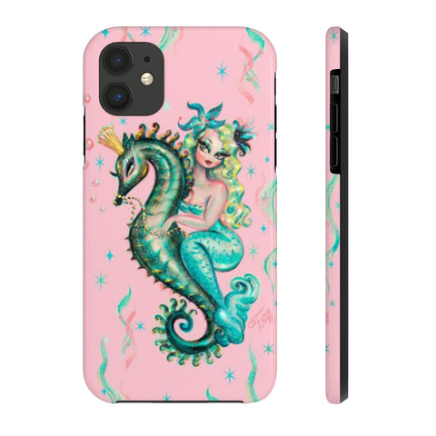 Blue Mermaid Riding a Seahorse Prince Pink • Phone Case