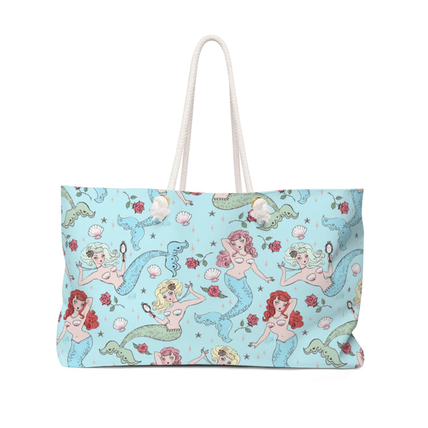Mermaids and Roses on Aqua • Weekender Bag
