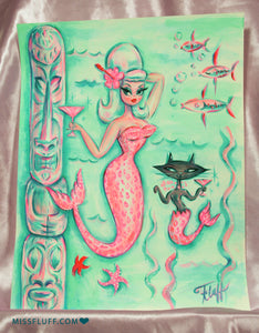Blonde Pink Leopard Tiki Mermaid with Merkitty - Original Drawing 11x14